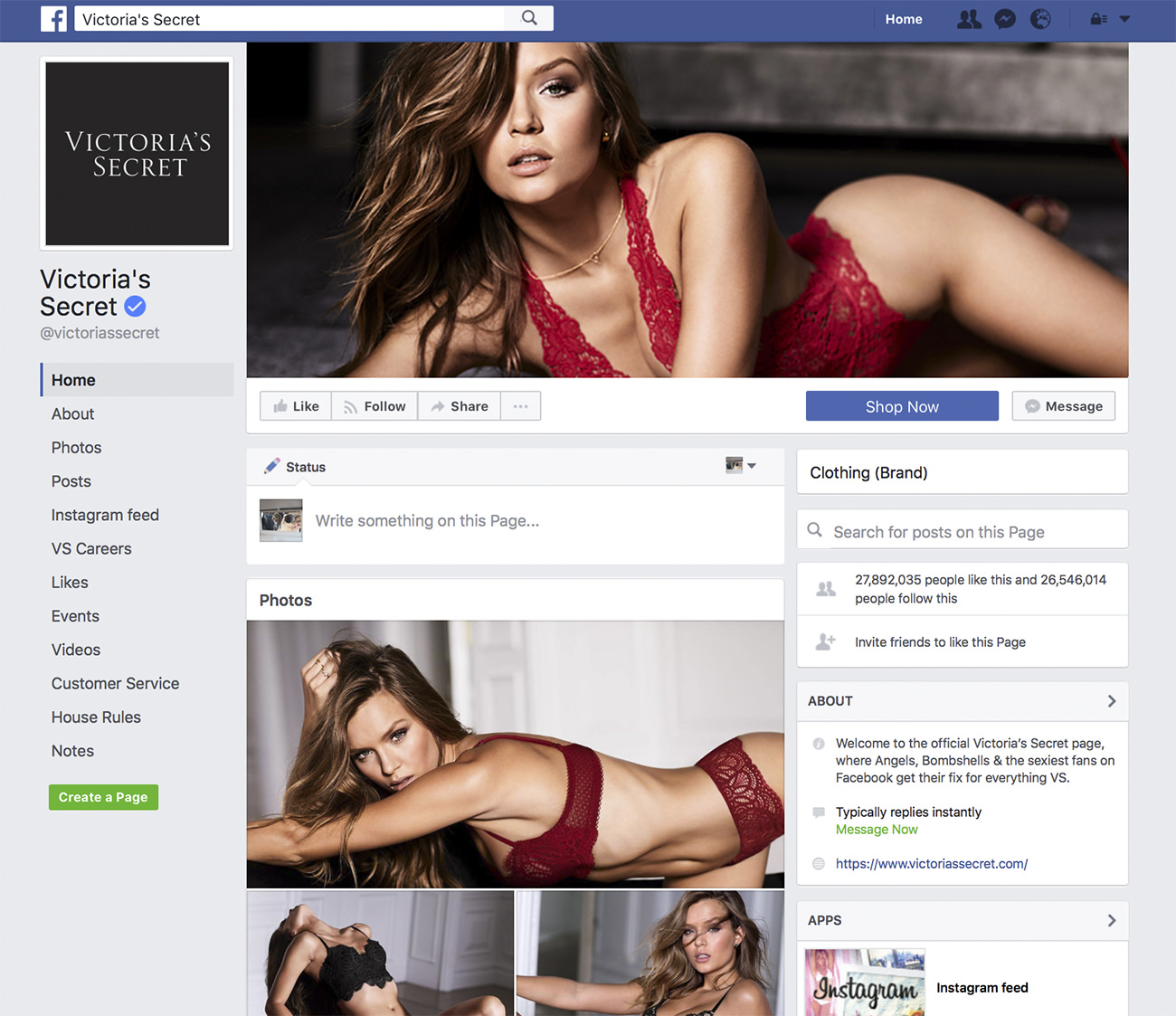 Victoria's Secret Facebook page - Marketing for clothing store
