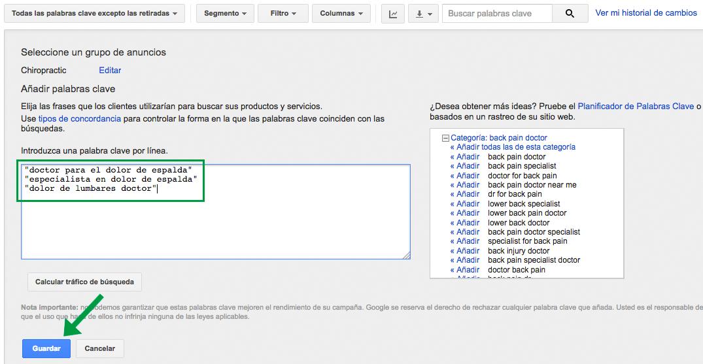 Se añaden nuevas palabras clave de concordancia exacta en la interfaz web de Google AdWords