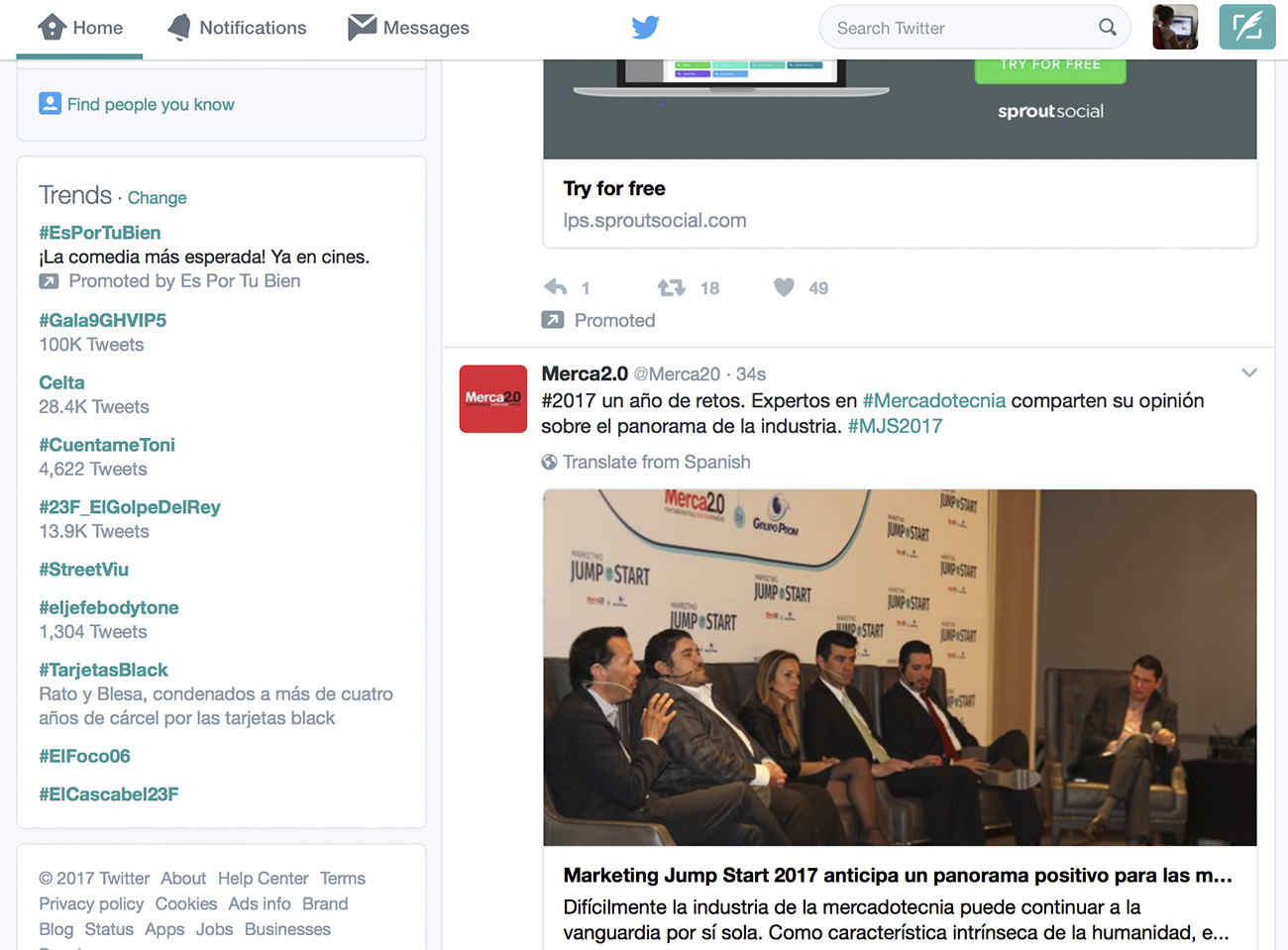 Ejemplo de uso de etiquetas en Twitter para empresas