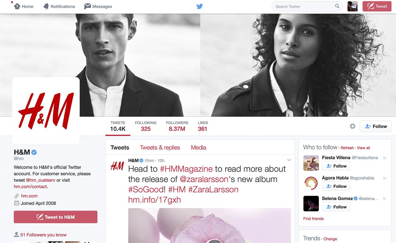 Ejemplo de perfil optimizado de Twitter para empresas. H&M.