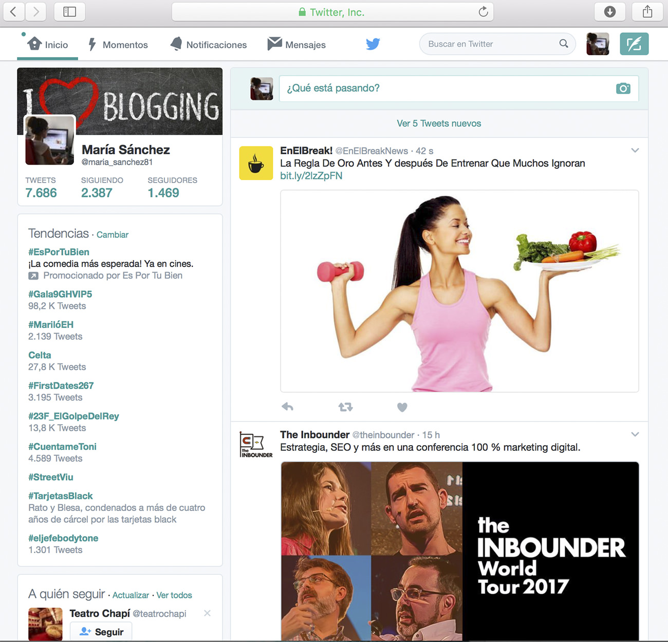 Ejemplo de timeline de Twitter para empresas.