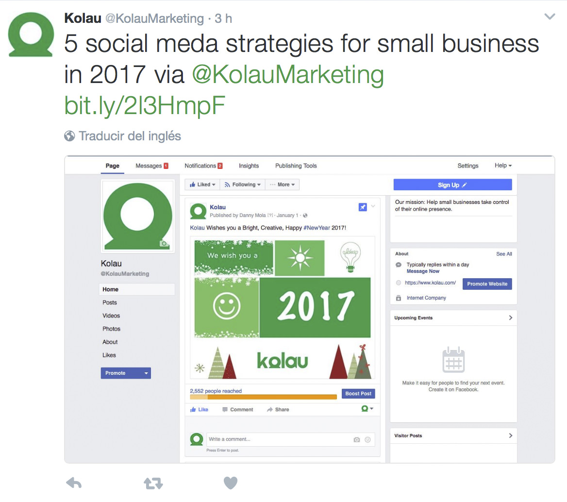 Example of tweet on Twitter for business