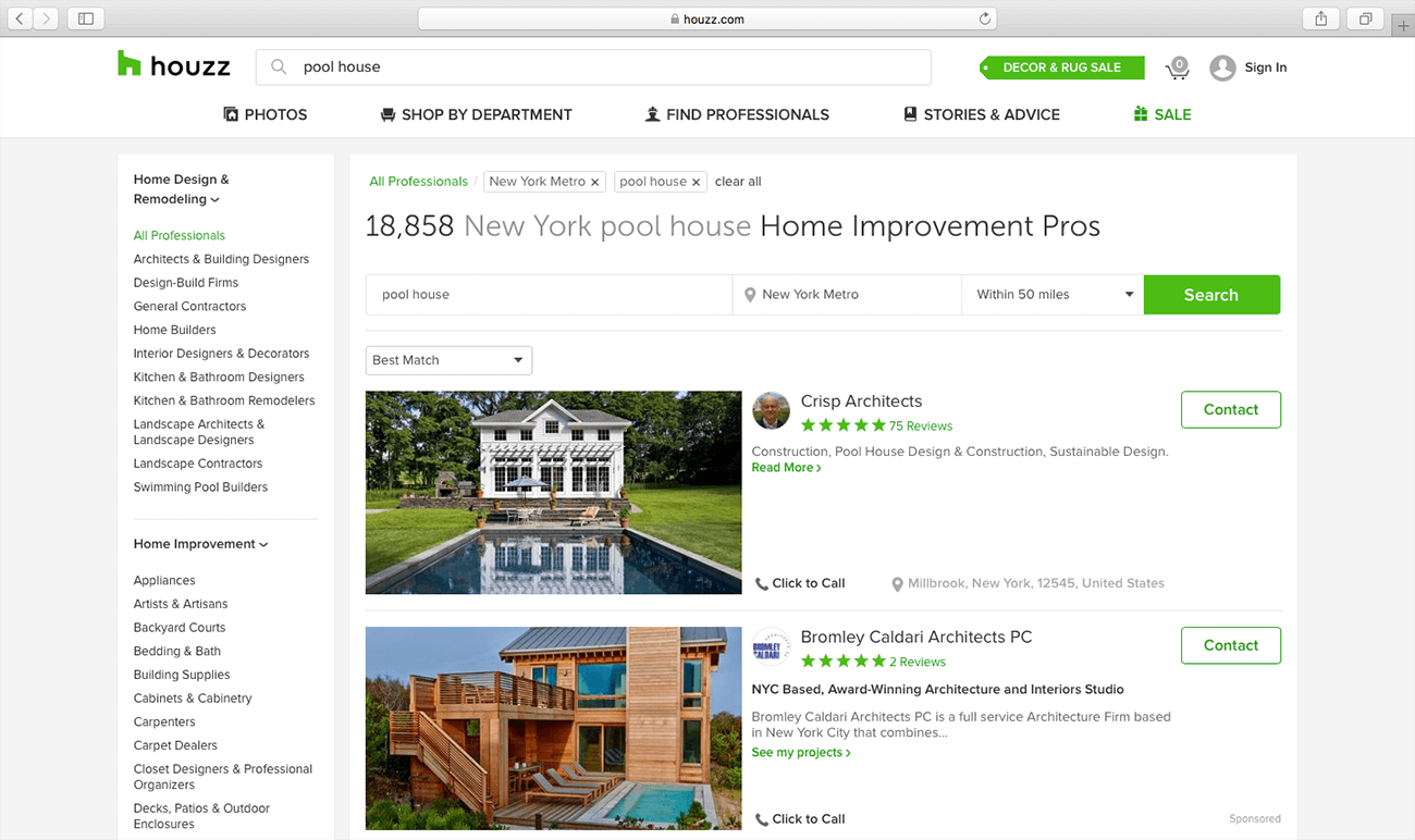 marketing para arquitectos busqueda houzz