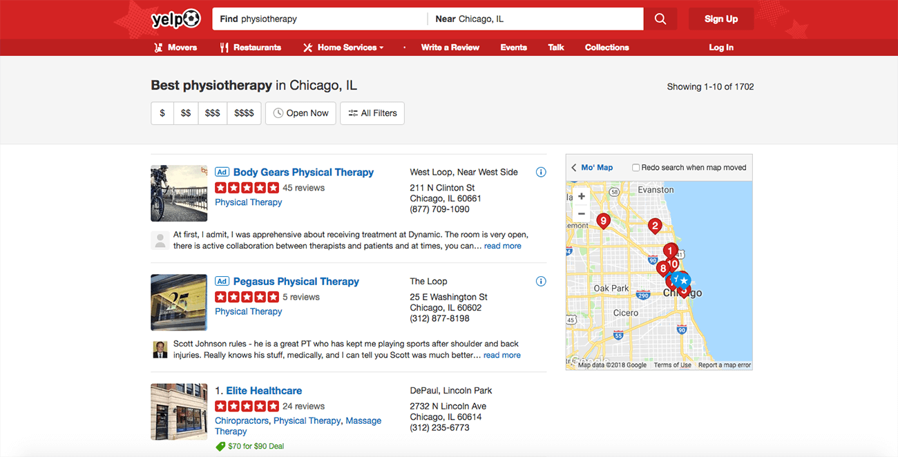 marketing para fisioterapeutas yelp