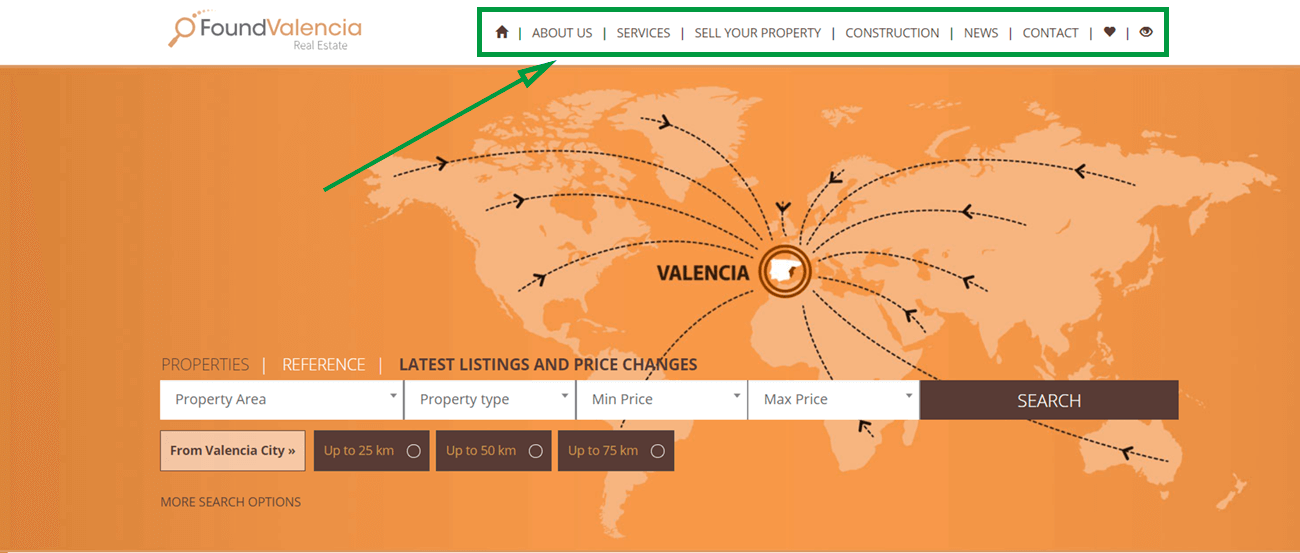 landing page for real estate found valencia homepage