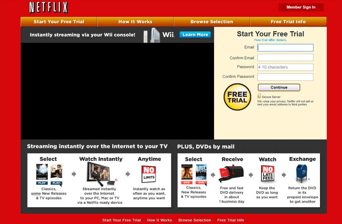 como hacer una landing page efectiva. Netflix 2010.