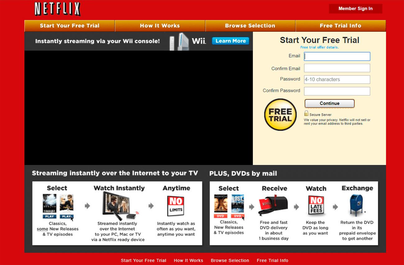 How to create an effective landing page. Netflix 2010.