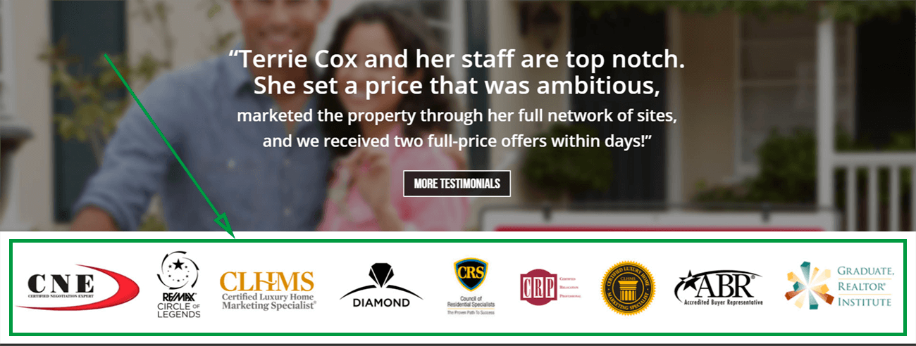 landing page for real estate terrie cox