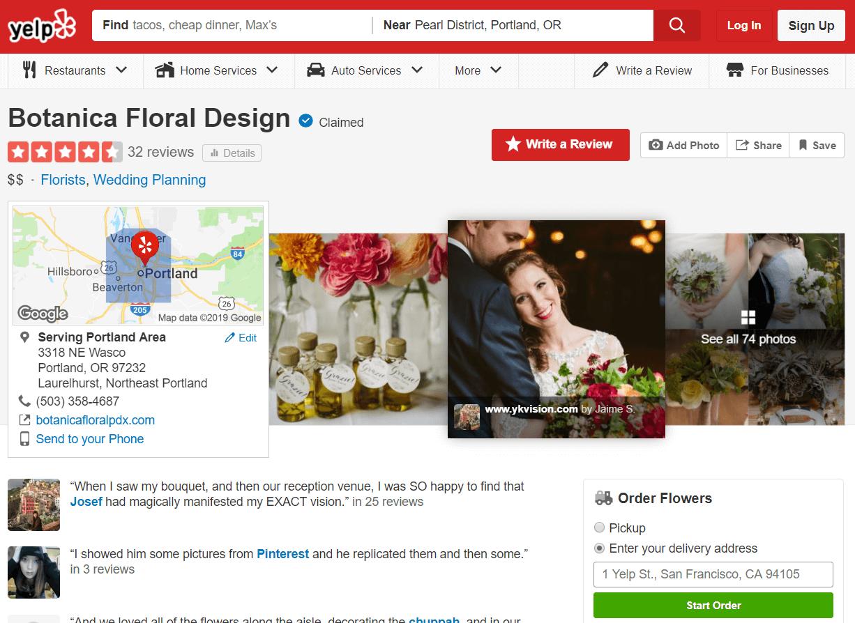 Estrategias para vender flores. Página de Yelp de Botanica.