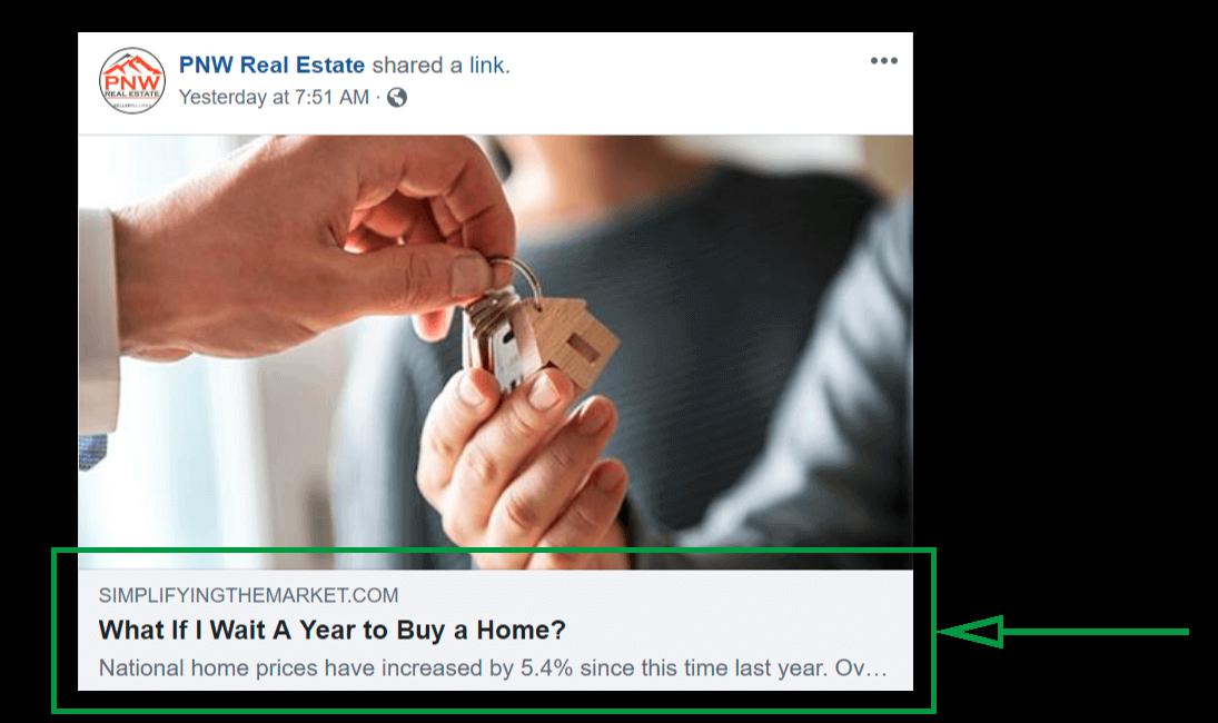 Facebook para inmobiliarias. Ejemplo de compartición de contenido.