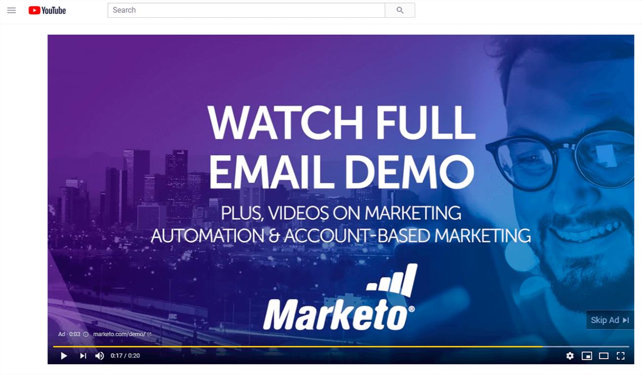Tipos de landing page. Anuncio de video de marketo.