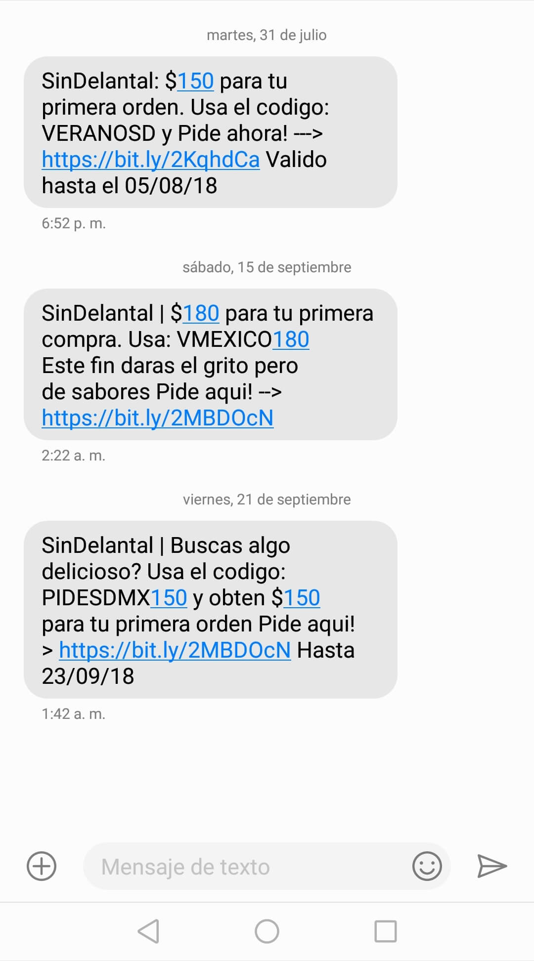 Marketing por sms. Ejemplo de Sin Delantal.