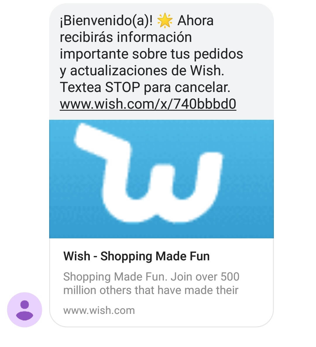 Marketing por sms. Ejemplo de Wish.