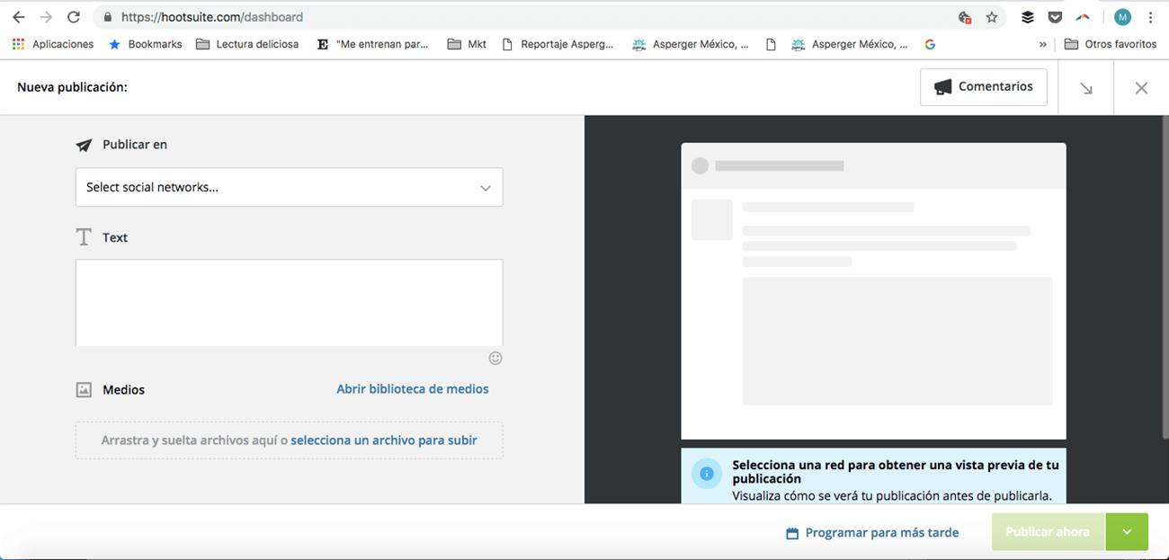 Instagram para empresas. Programar publicación.
