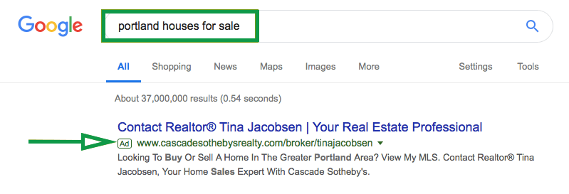 How to get clients in real estate. Google Ads Realtor Example