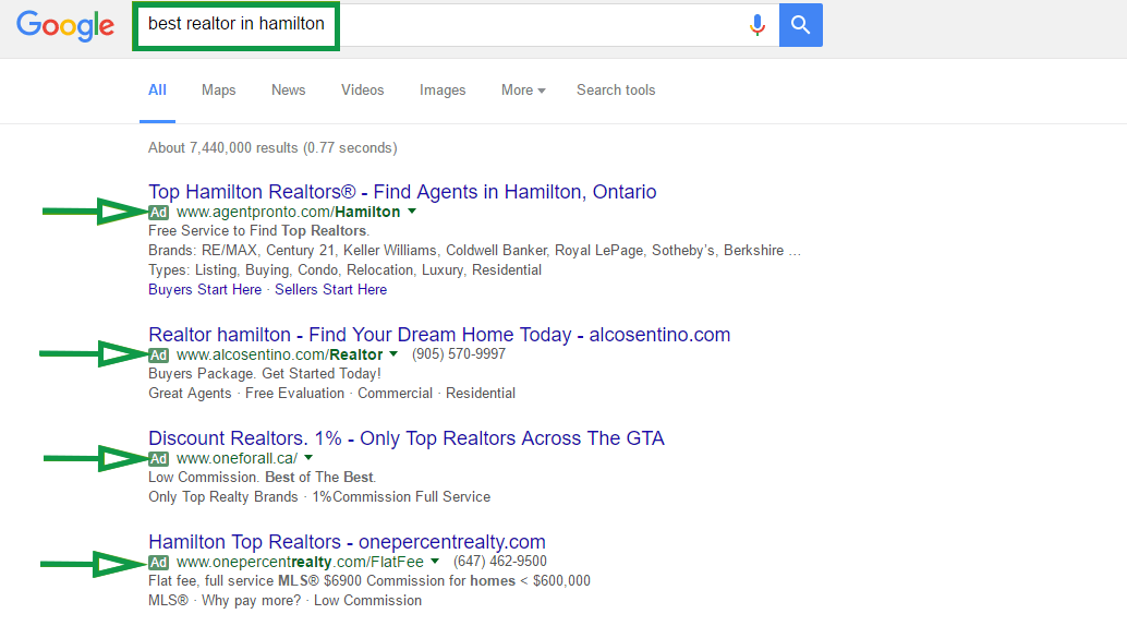 How to get clients in real estate. Ad research google example.