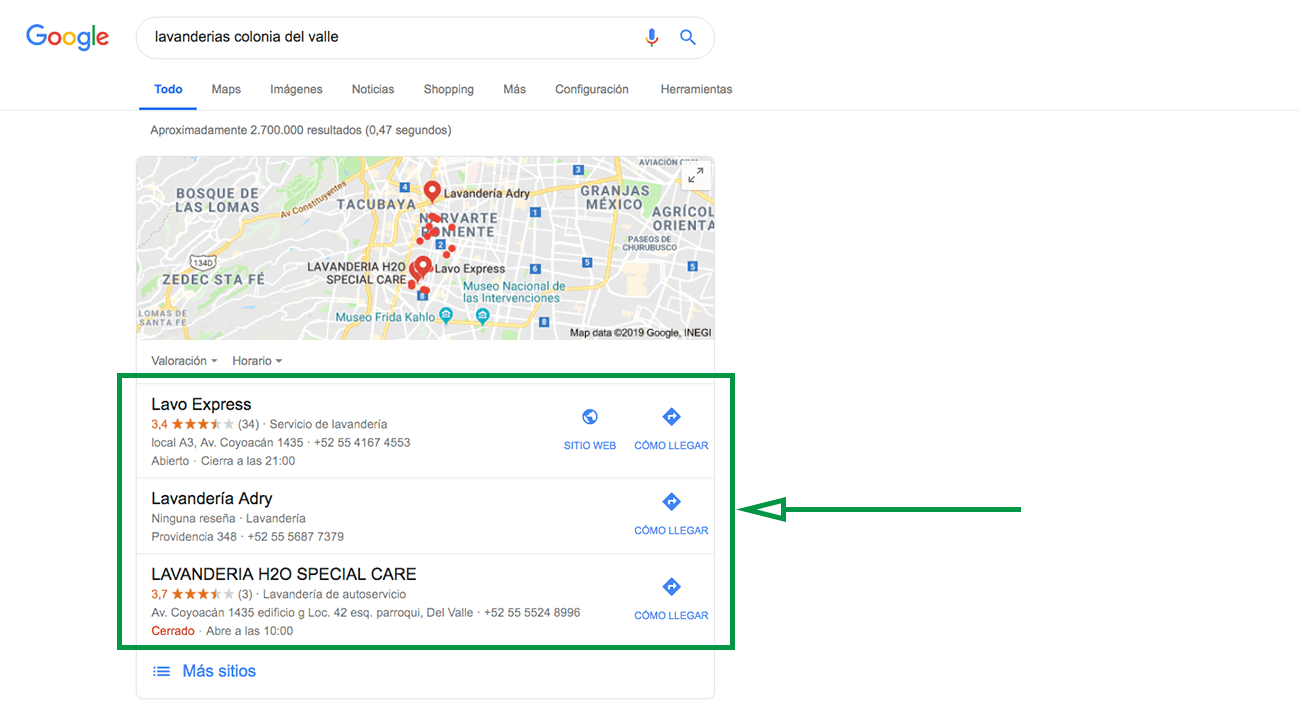 How to start a laundry business in mexico. Google Maps results.