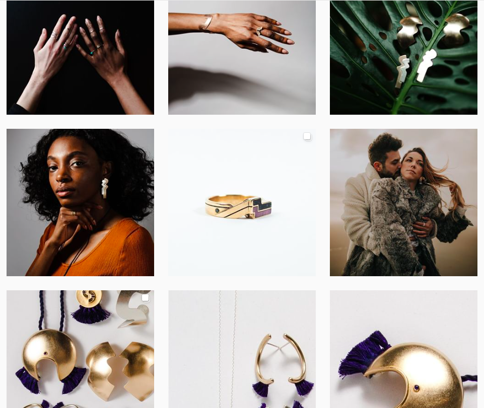 Jewelry marketing. Instagram Feed Screenshot.