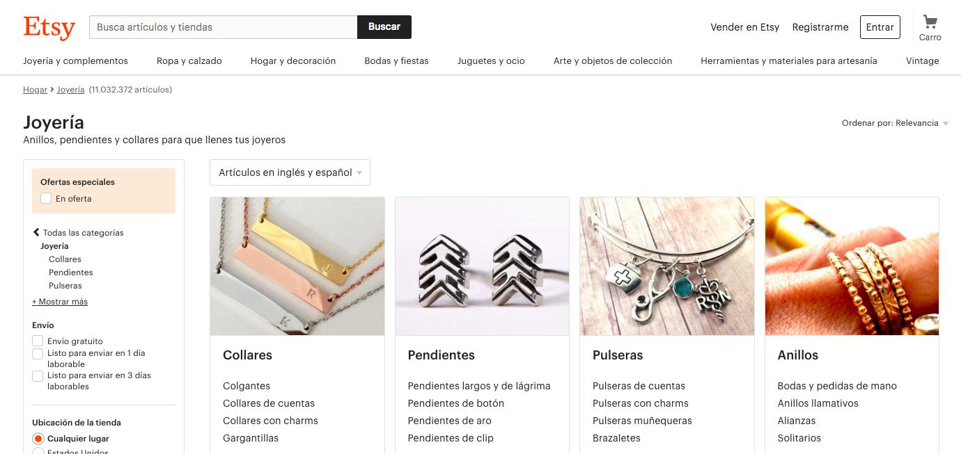 Marketing para joyerías. Home Page de Etsy.
