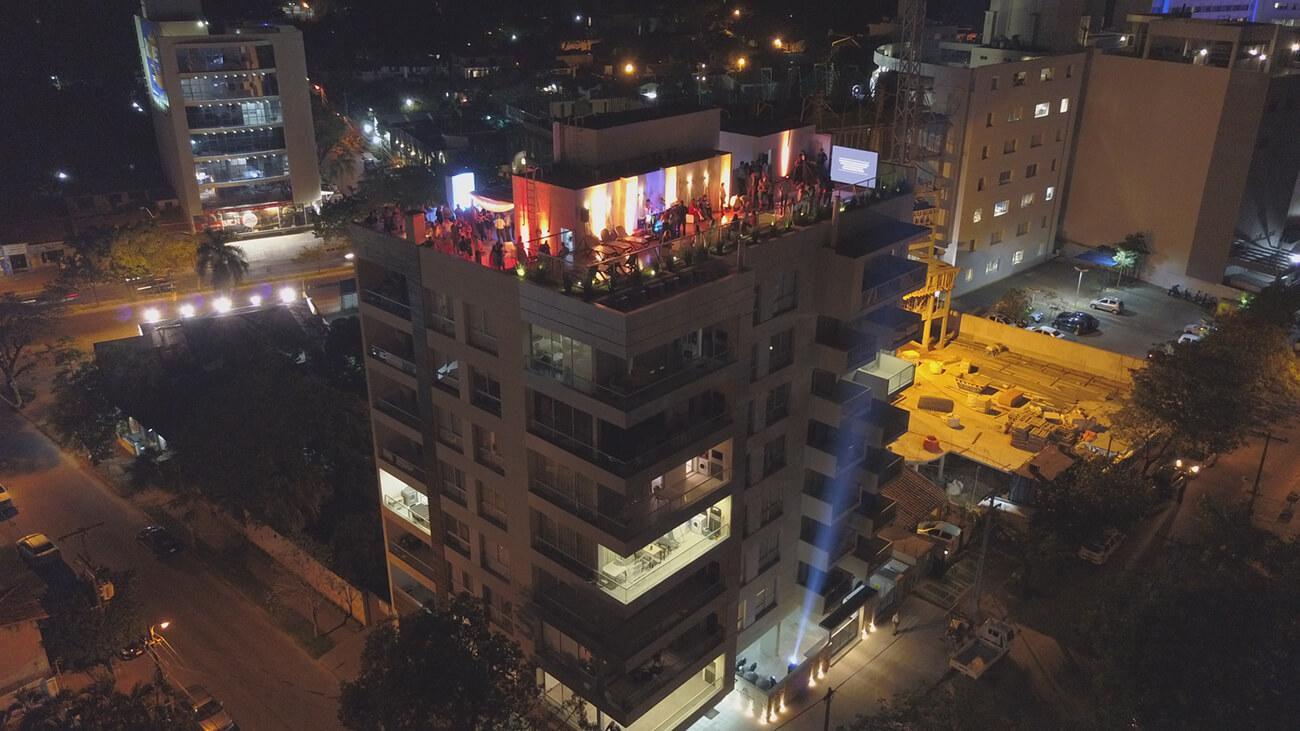 Marketing para organización de eventos. Inauguración realizada por Eventos Empresariales TheClass para el edificio Manantiales Plaza de Asunción.