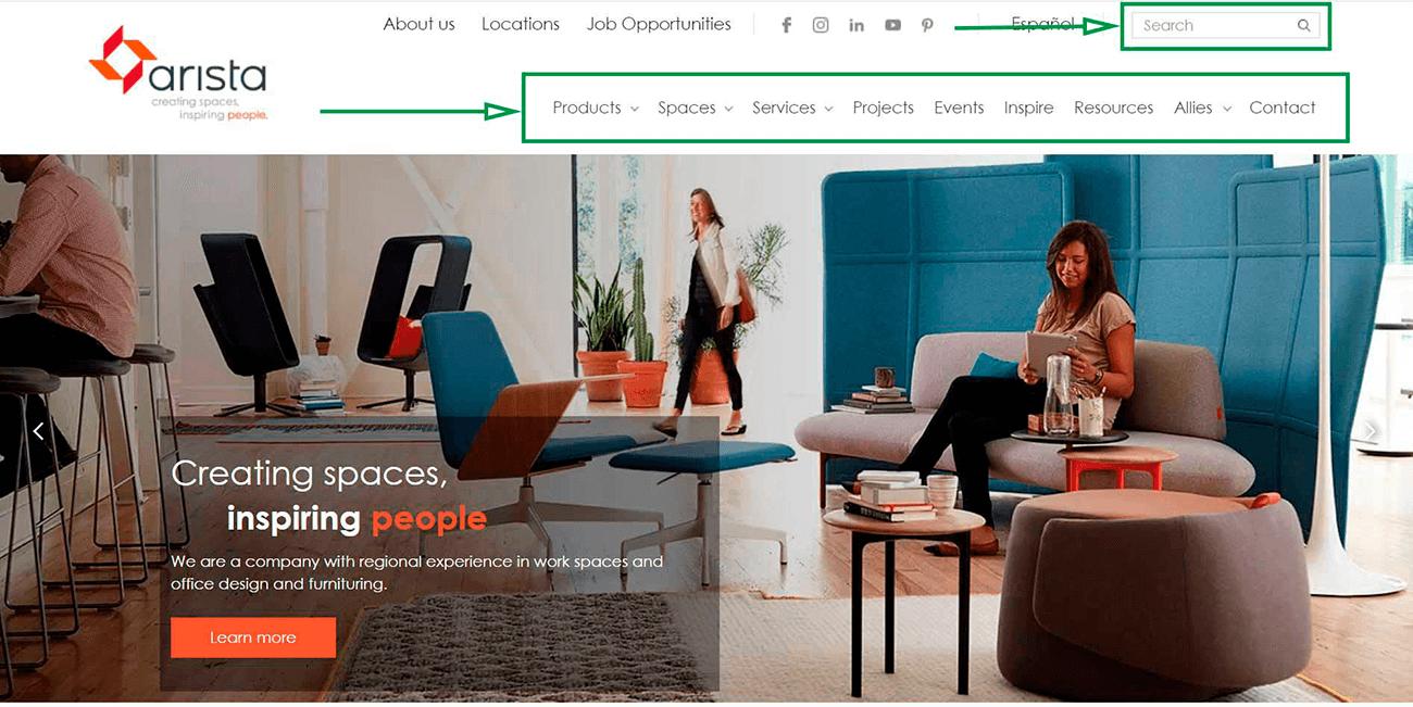 Estrategias de marketing digital para diseñadores de interiores. Sitio web de Arista.