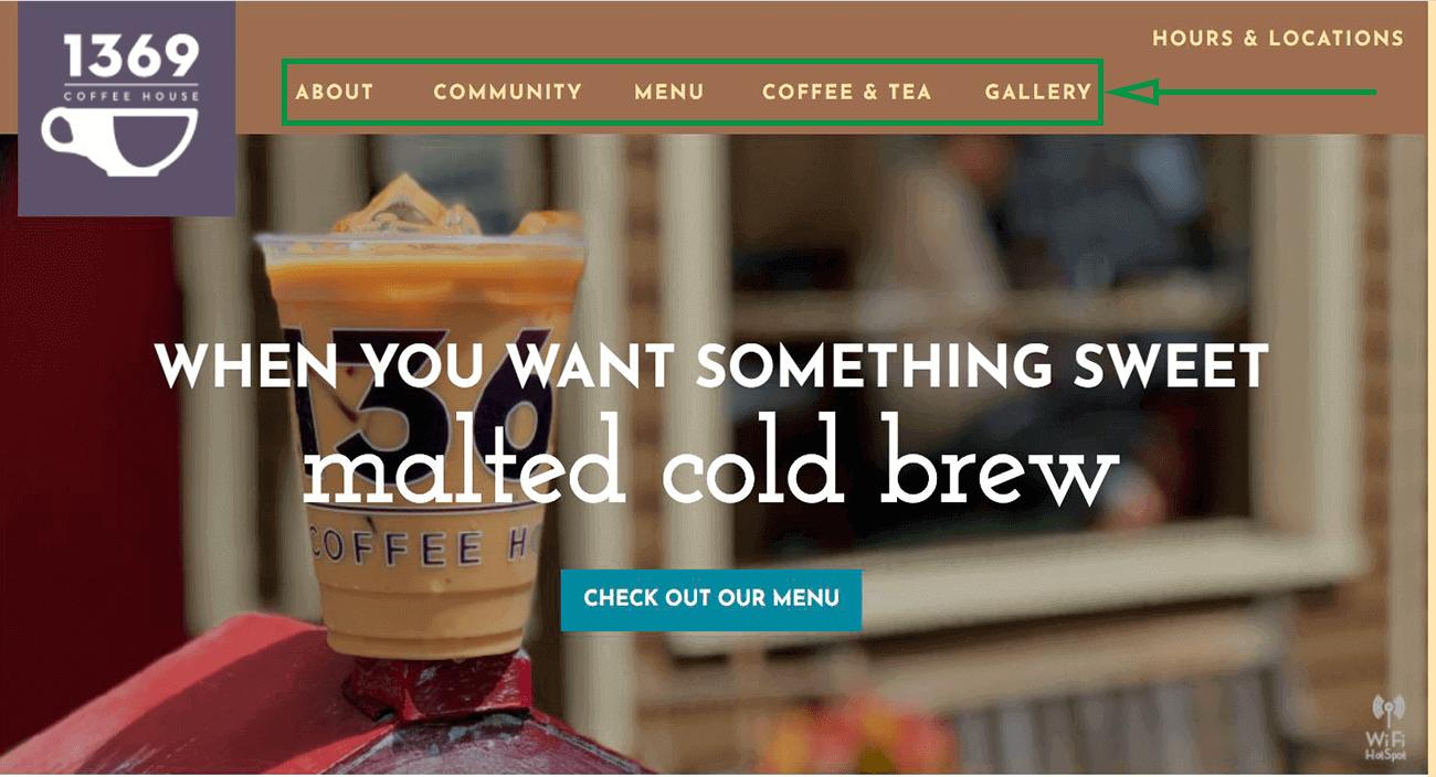 Marketing para cafeterías. Ejemplo de sitio web.