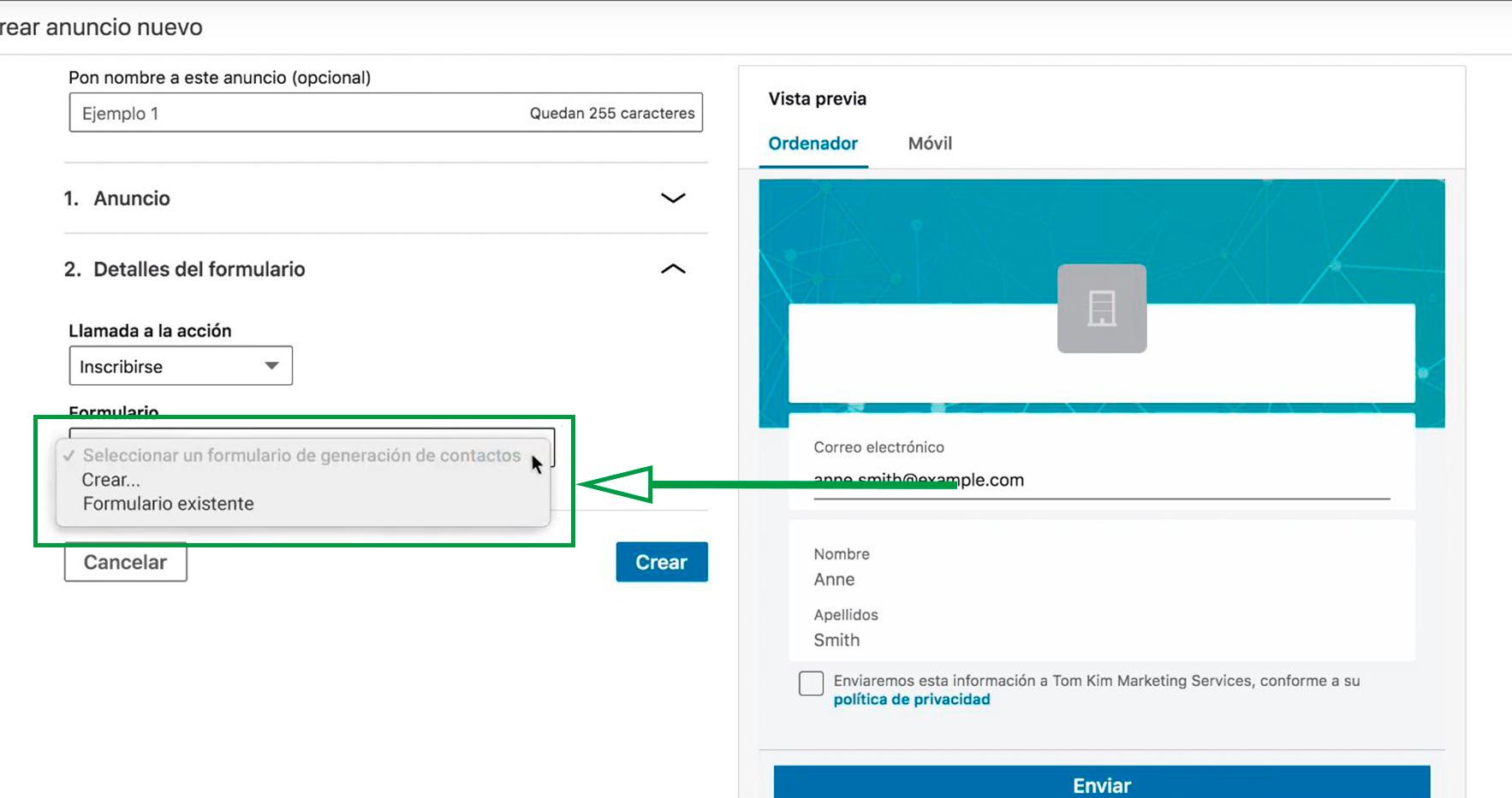 Cómo Usar Linkedin para captar clientes. Crear formulario