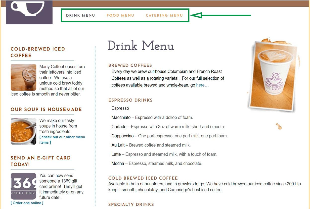 Marketing para cafeterías. Ejemplo de menú en sitio web.