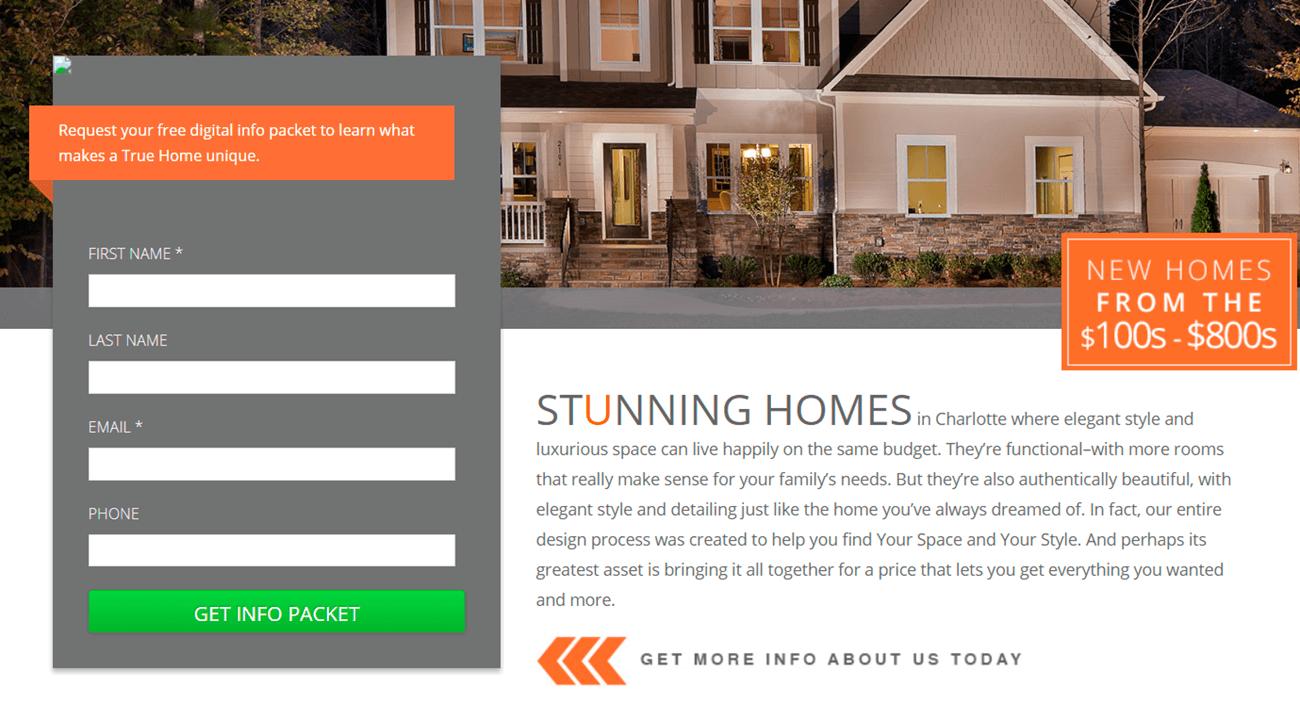 6 landing pages para inmobiliarias. Charlotte homes