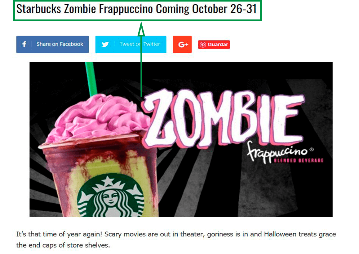 Marketing para cafeterías. Zombie frappuccino