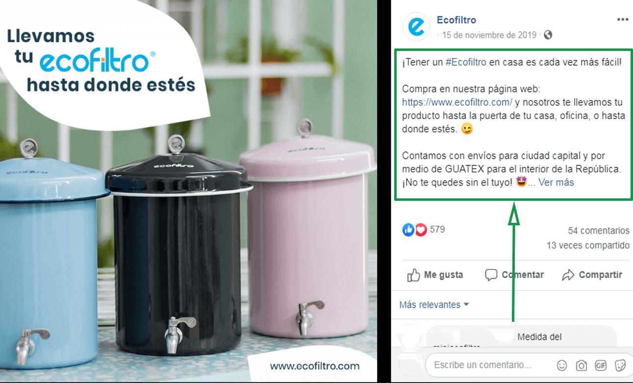 Marketing logístico. Ejemplo de envío de Ecofiltro
