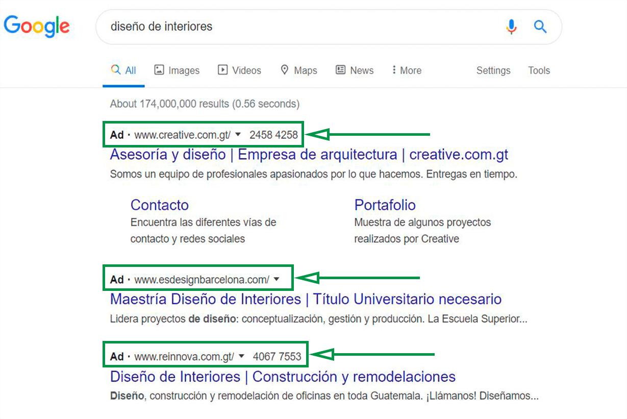 Estrategias de marketing para diseño de interiores. Búsqueda en Google.