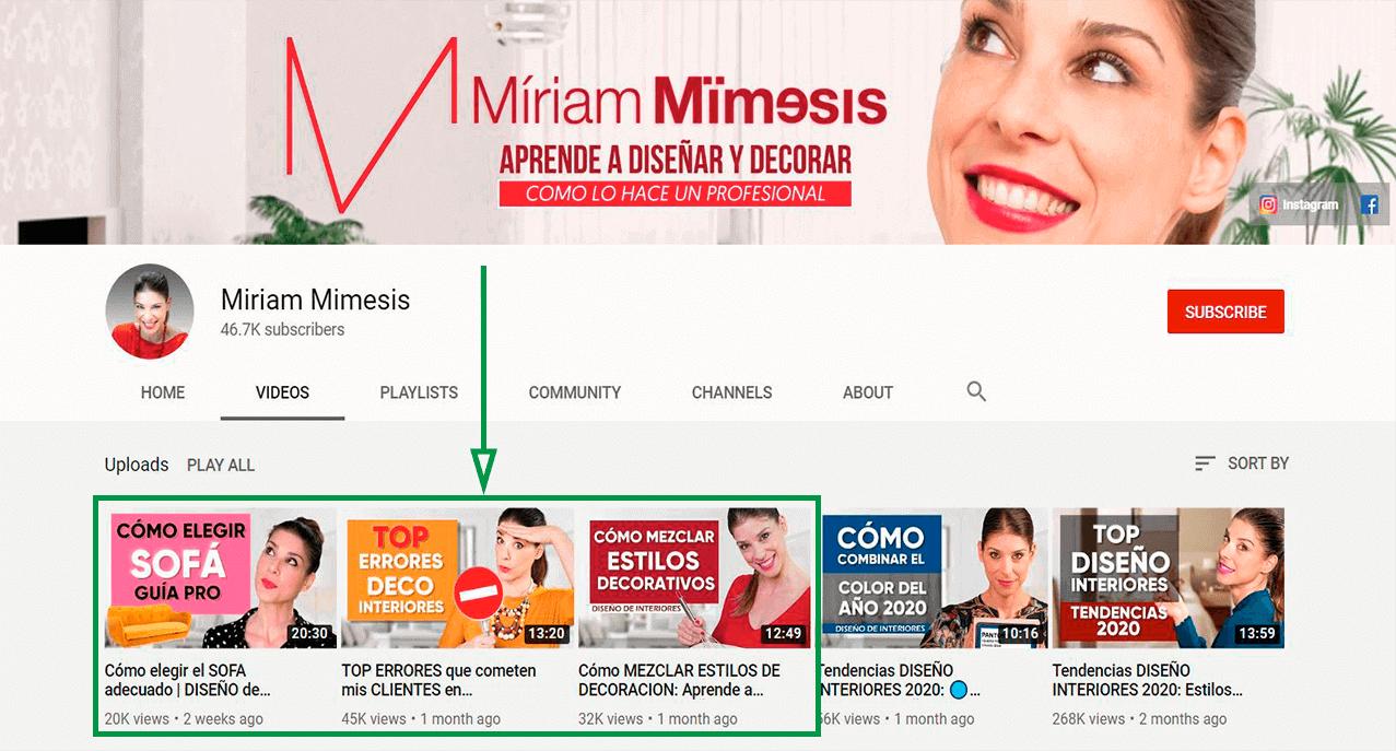 Estrategias de marketing para diseño de interiores. Canal de YouTube
