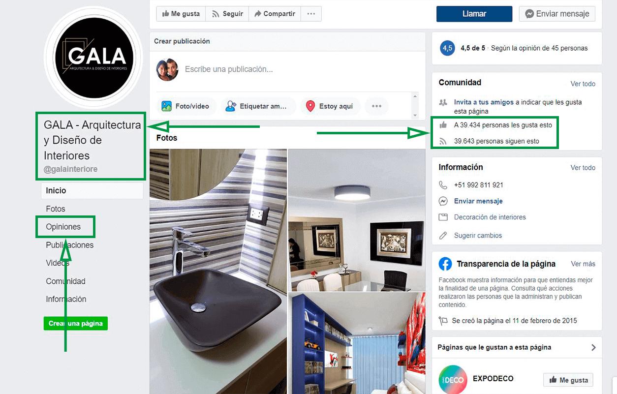 Estrategias de marketing para diseñadores. Página de Facebook.