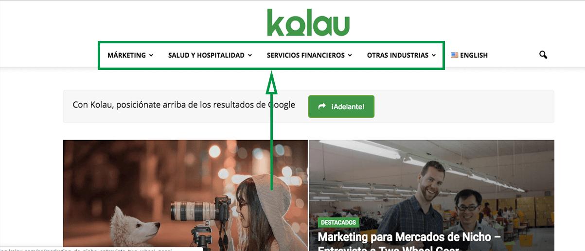 Marketing B2B. Página web.