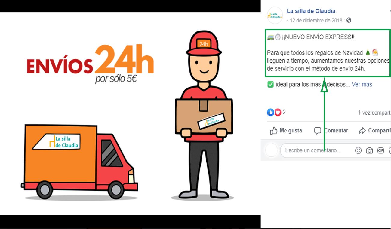 Marketing logístico. Nuevo envío ejemplo