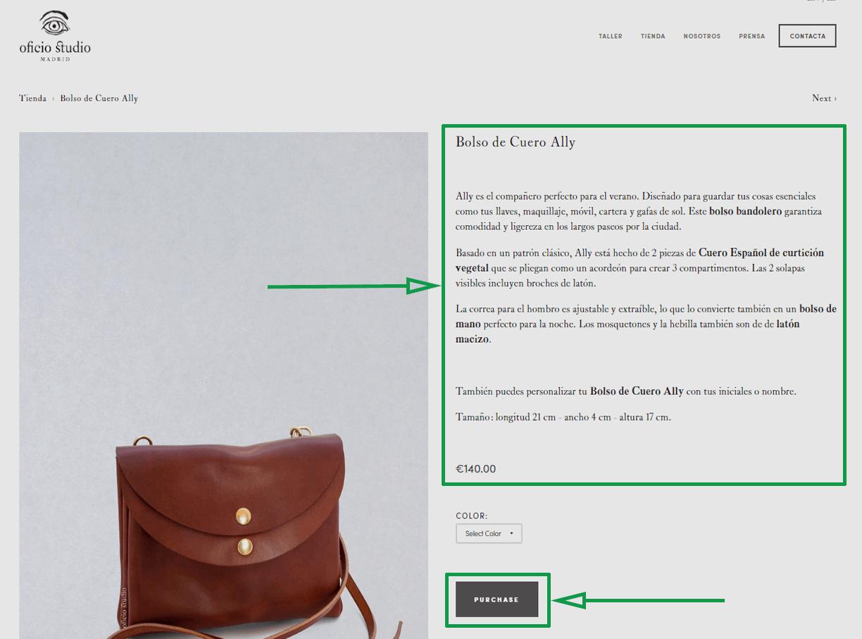 Estrategias para vender artesanías por internet. Opción de compra en sitio web