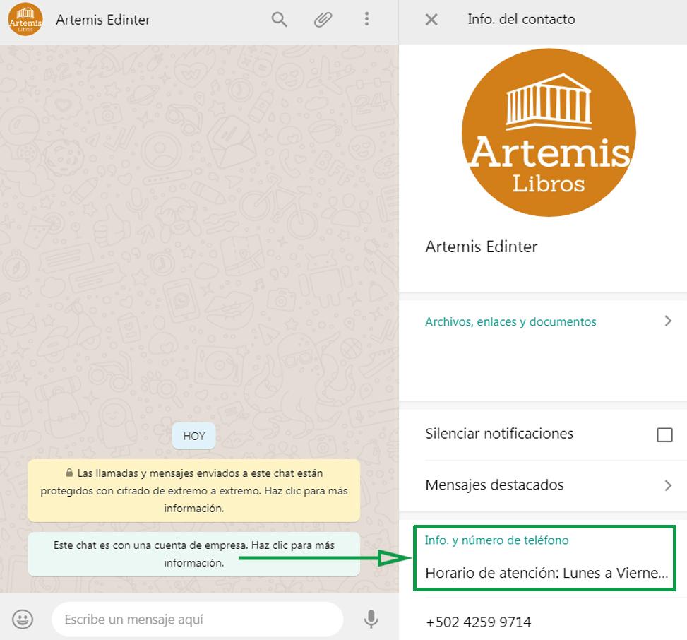 Marketing para librerías. Ejemplo de WhatsApp