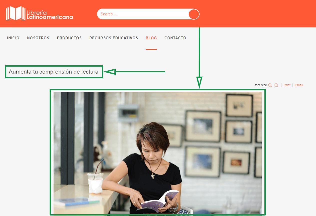 Marketing para librerías. Ejemplo de foto en blog