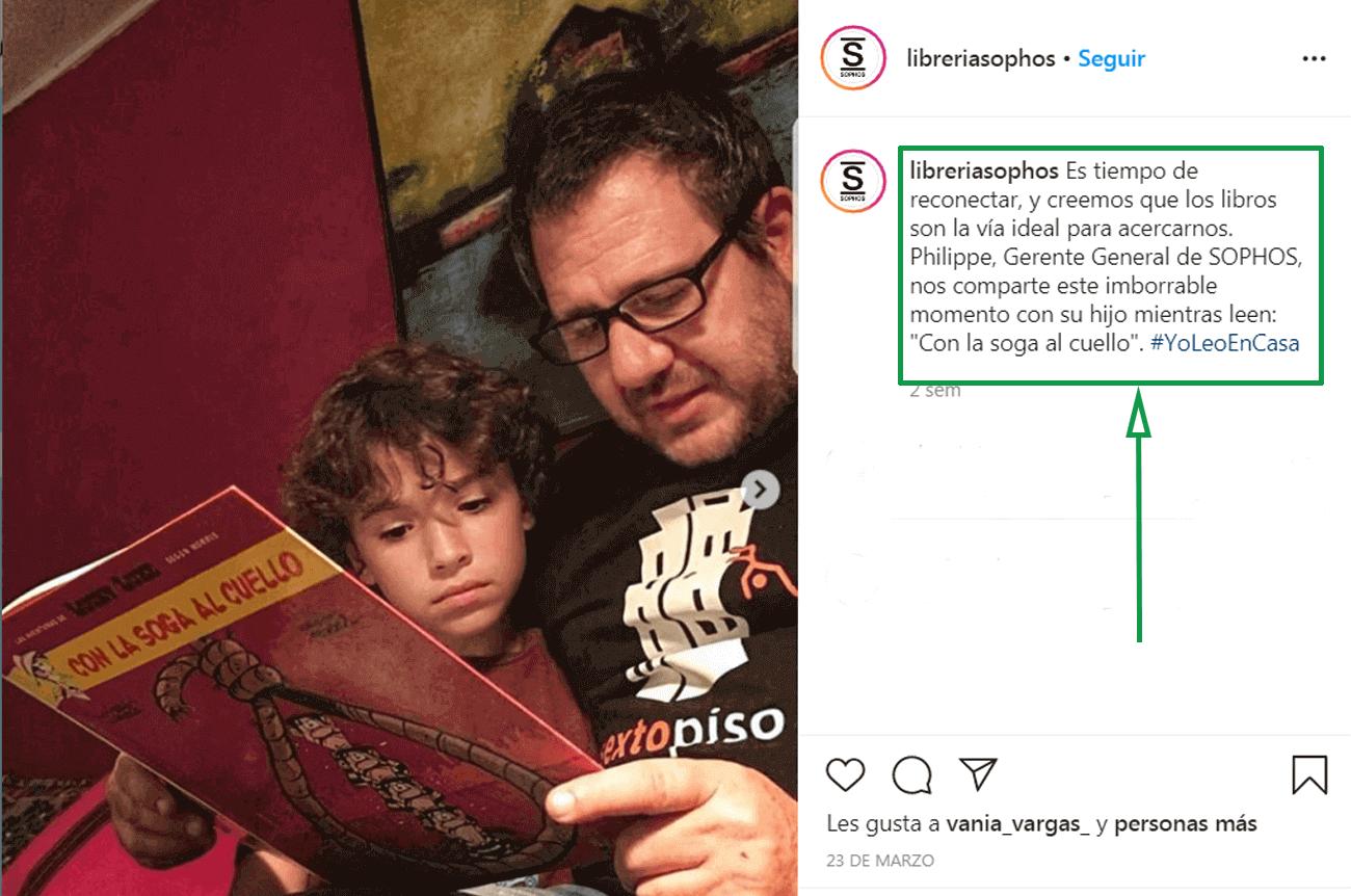 Marketing para librerías. Ejemplo de publicación en Instagram