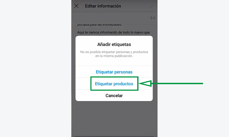 Cómo vender en Instagram. Etiquetar Productos