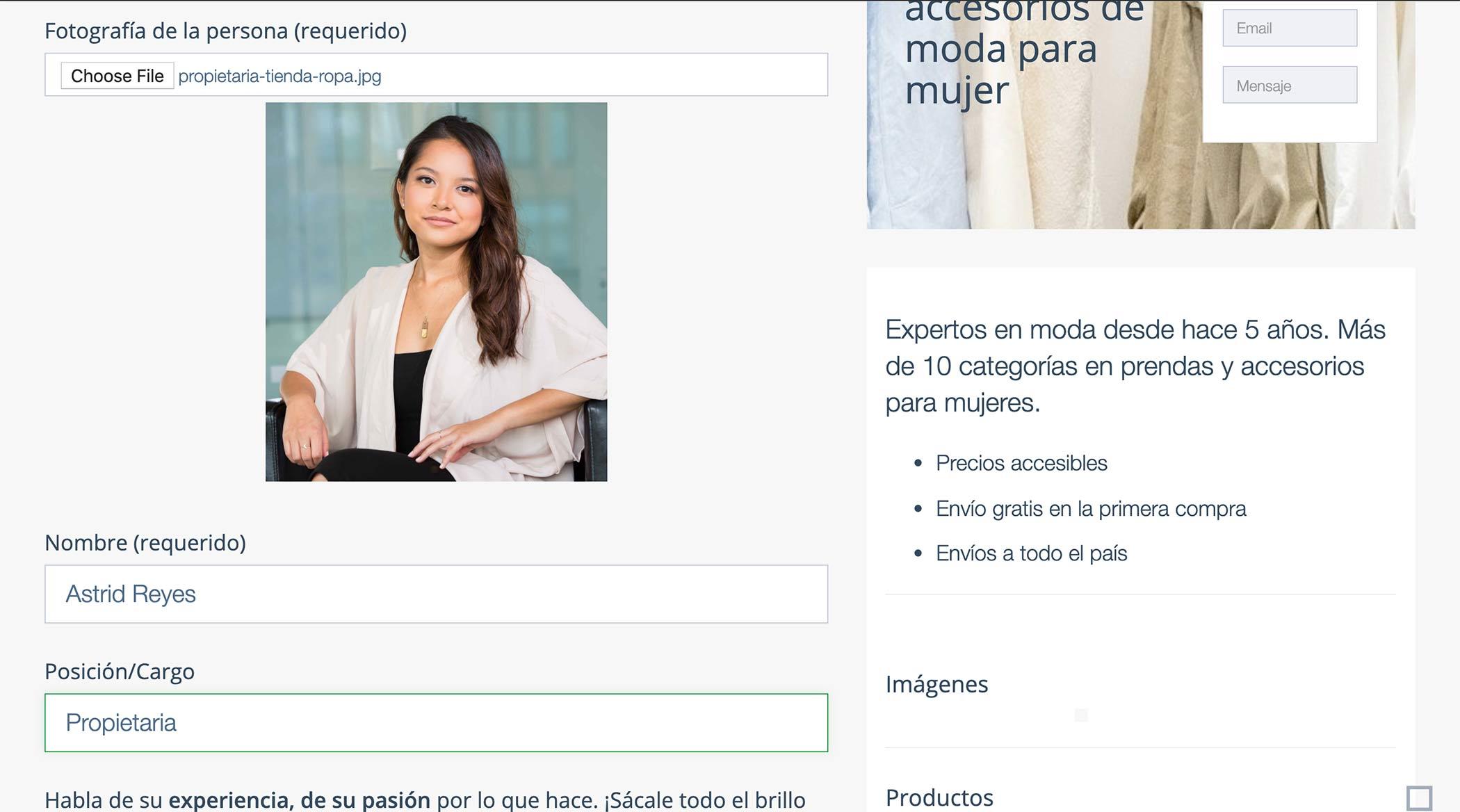 Crear Página Web para vender ropa. Foto Propietaria