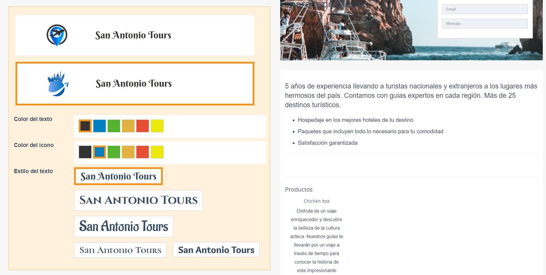 Crear página web para turismo. Generar logotipo