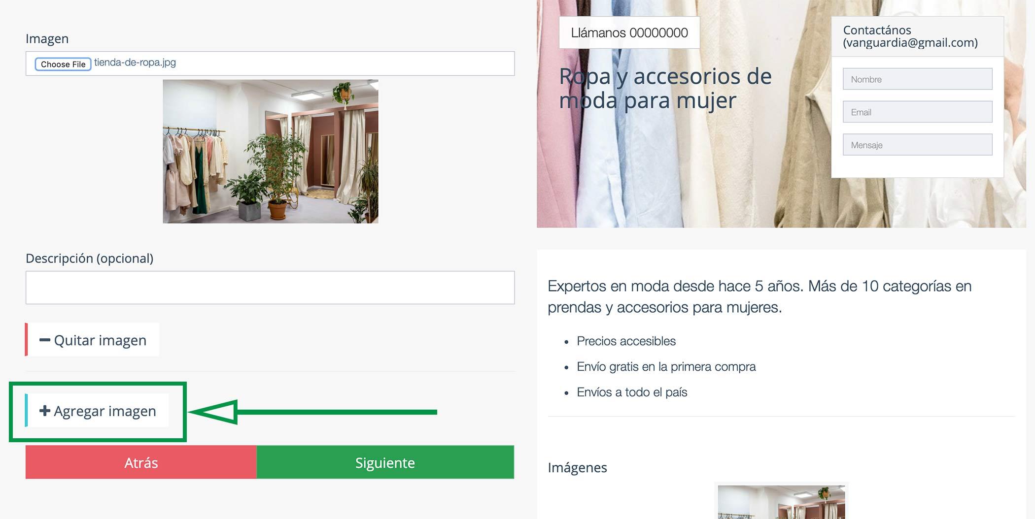Crear Página Web para vender ropa. Imágenes de negocio