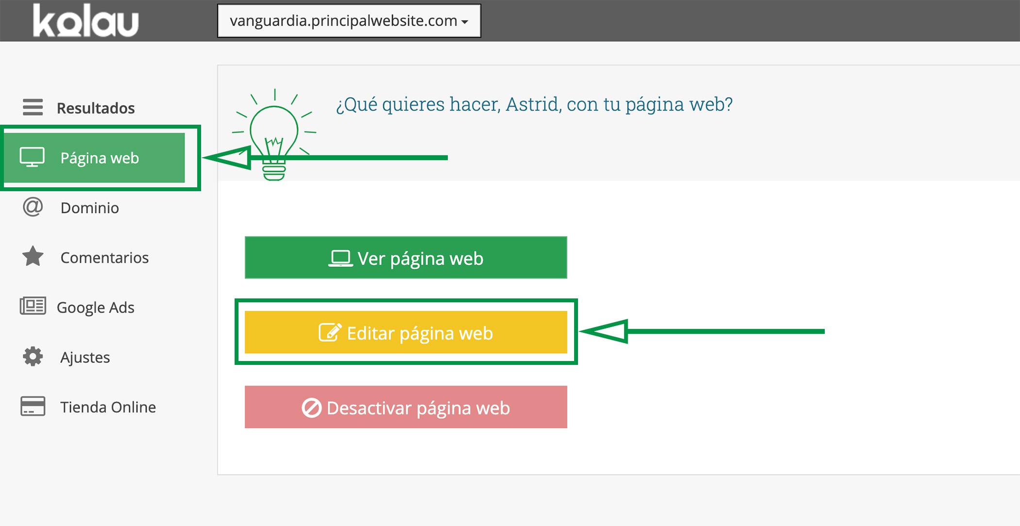 Crear Página Web para vender ropa. Editar Página