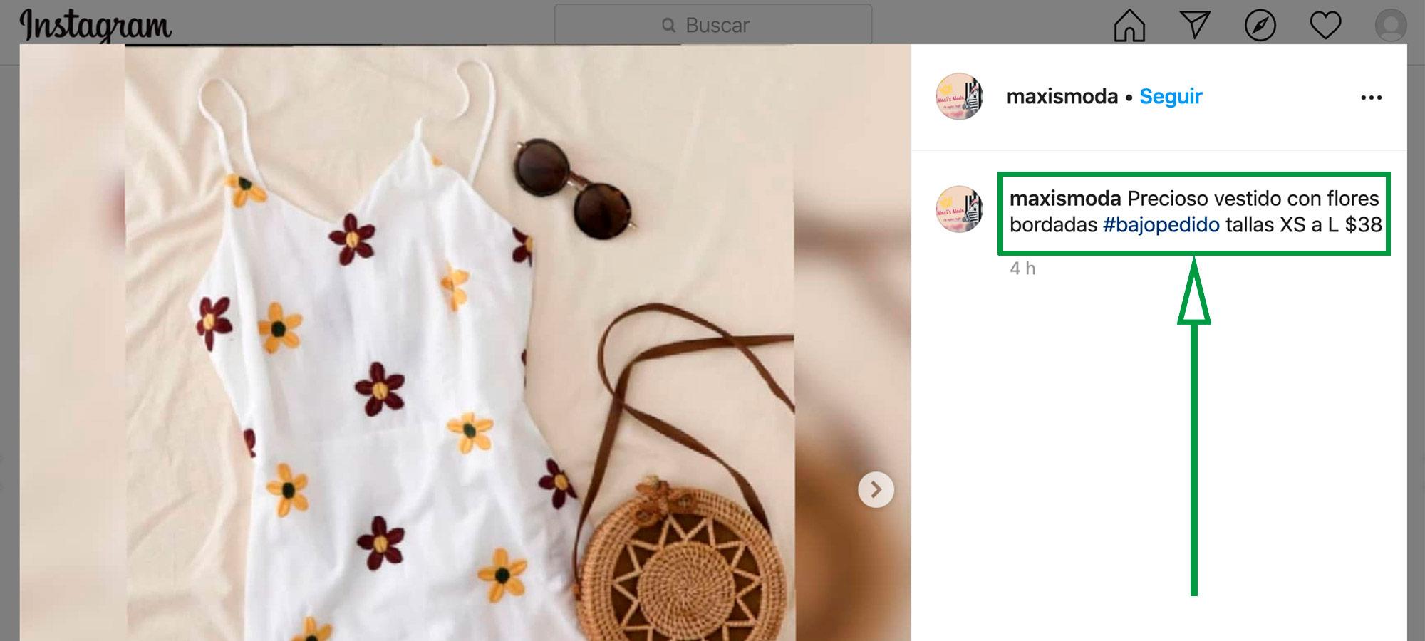 Cómo vende en Instagram. Vestido