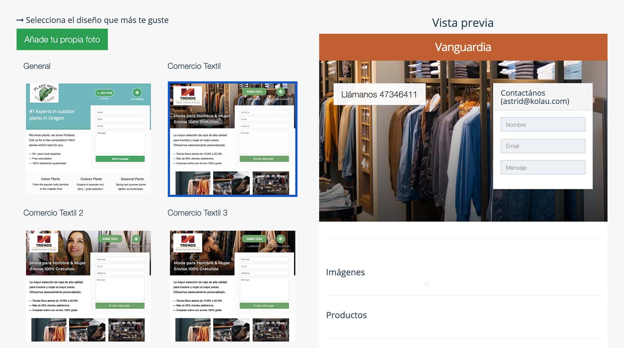 Crear Página Web para vender ropa. Portadas predeterminadas
