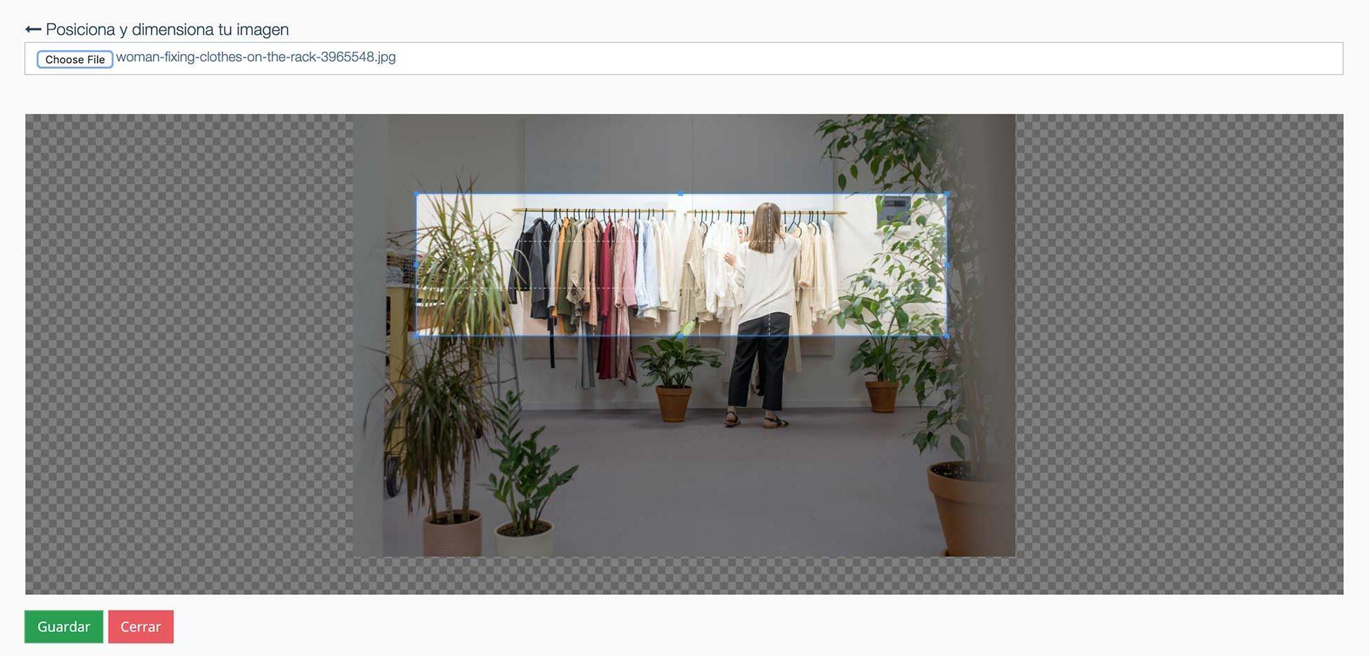 Crear Página Web para vender ropa. Ajustar foto de portada