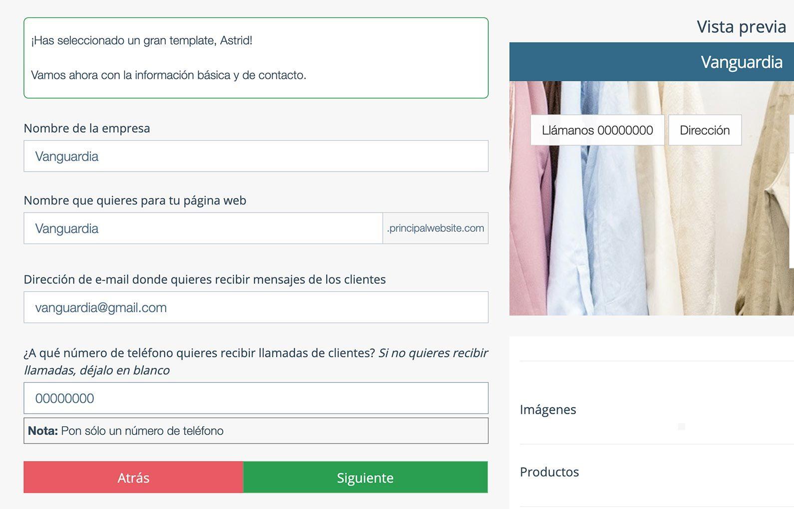 Crear Página Web para vender ropa. Información de contacto