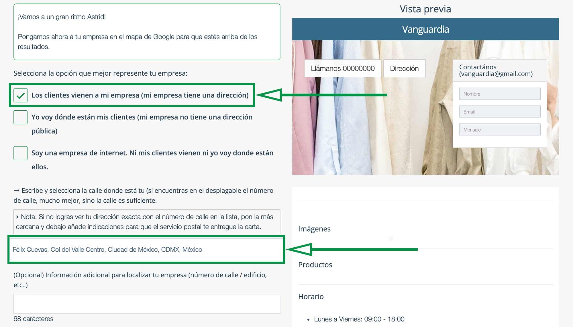 Crear Página Web para vender ropa. Dirección física